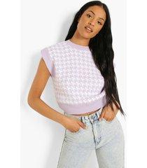 tall gebreid dogtooth hemd, lilac