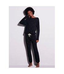 pijama longo em viscose dreams preto poa off white