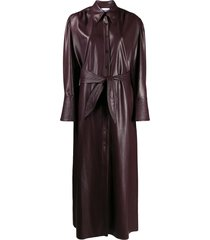 nanushka vegan leather quilt dress - purple