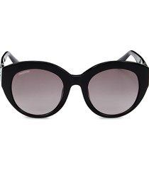 swarovski women's 52mm round sunglasses - black