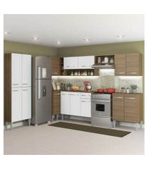 cozinha completa de canto reto madesa emilly moon com armário e balcão 15 portas 1 gaveta rustic/branco rustic/branco