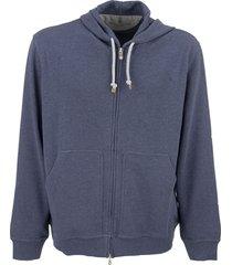 brunello cucinelli techno cotton interlock zip-front hooded sweatshirt
