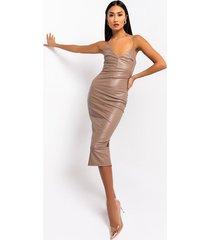 akira hot lil mama faux leather midi dress