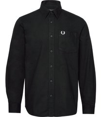 brushed cotton shirt skjorta casual svart fred perry