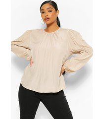 plus puff sleeve blouse, taupe