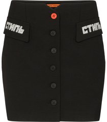 heron preston buttoned fitted mini skirt - black