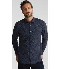 camisa slim manga larga estampada azul marino esprit