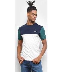 camiseta lacoste colorblock masculina - masculino