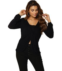 blusa studio21 malha com top preta