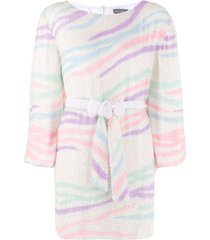 retrofete striped long-sleeve mini dress - white
