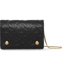 burberry monogram leather card case with detachable strap - black