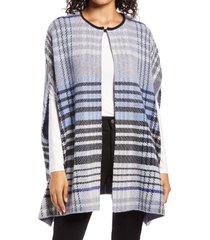 women's halogen plaid cashmere blend cape, size one size - blue