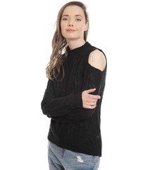 sweater 7.5 setepontocinco off shoulder braids knit negro - calce regular