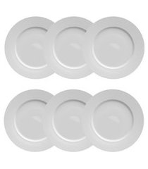 conjunto 6 pratos de porcelana p/ sobremesa germer flat 20.5cm branco
