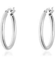 orecchini a cerchio in argento rodiato lisci 15 mm per donna