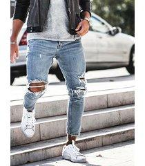hombres moda azul brillante apenado cónico jeans