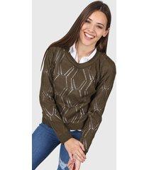 sweater verde seco moni tricot calado