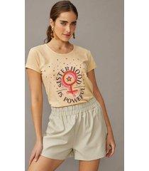 t-shirt amaro silk estonado sisterhood is powerful areia - bege - feminino - dafiti