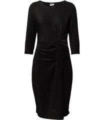 draped shimmer dress knälång klänning svart saint tropez