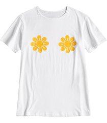 camiseta con estampado de girasol y cuello redondo para mujer