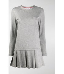 thom browne drop waist pleated dress