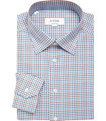 eton men's contemporary-fit check dress shirt - blue - size 17.5
