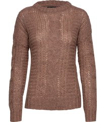 pzcomo l/s pullover stickad tröja brun pulz jeans