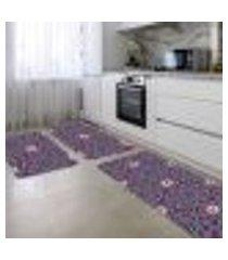 kit tapete de cozinha mandala bordo único