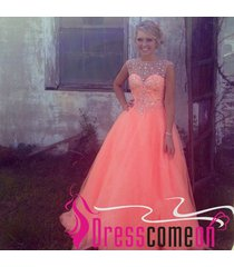ball gown scoop rhinestone cap sleeved long coral tulle prom dress/evening gowns