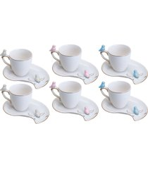 conjunto 6 xícaras de porcelana wolff para café cute birds 90ml – design plate colorido