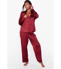 womens i have a dream oversized satin pajama set - cinnamon