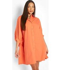 tall oversized blouse jurk met vleermuismouwen, orange