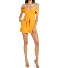 women's lavish alice belted off the shoulder romper, size 10 - orange
