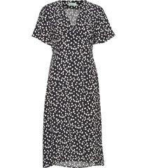 livier printed dress knälång klänning svart morris lady