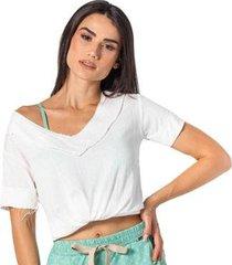 camiseta feminina gola v lisa leve confortável casual praia - feminino
