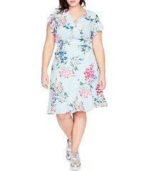 plus floral-print v-neck dress