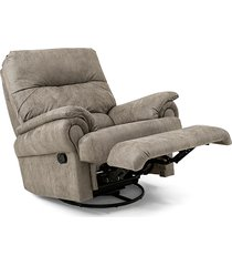 poltrona reclinável herval dublin, giratória com balanço, veludo marrom claro