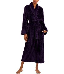 charter club petite plush zigzag long wrap robe, created for macy's