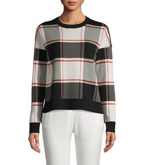 plaid cotton blend sweatshirt