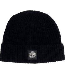 stone island hats in black wool