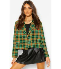 flannel boxy double breasted pocket blazer, green