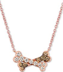 "le vian i love dogs collection 20"" pendant necklace (3/4 ct. t.w.) in 14k rose gold"