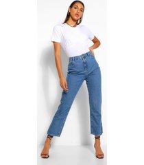 denim jeans met splitzoom, middenblauw