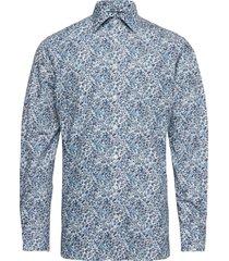 floral print poplin shirt - contemporary fit skjorta business blå eton