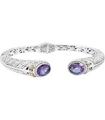 amethyst (3 ct. t.w.) bali heritage classic cuff bracelet in sterling silver and 18k yellow gold accents