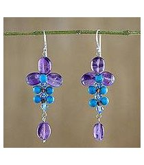 amethyst and calcite dangle earrings, 'succulent vines' (thailand)