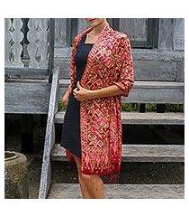 silk batik shawl, 'jakarta lady' (indonesia)