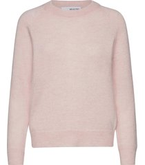 slflulu ls knit o-neck b stickad tröja rosa selected femme