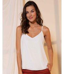 camisa para mujer de tiras lourdes sólida