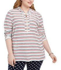 tommy hilfiger plus size striped cotton hoodie tunic